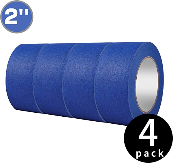 4 Pack 2 X 60 Yd Blue Painter S Tape Easy Tear Pro Grade Removable Masking Tape For Basic Painting 4 Rolls 240 Total Yards