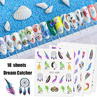 Nail Art Stickers Nail Decals Supplies for Women Girls 18 Sheets Butterfly Feather Dreamcatcher Nail Art Accessories Set Environmental Protection Watermark Design for Nail Wraps Decor Tips Manicure