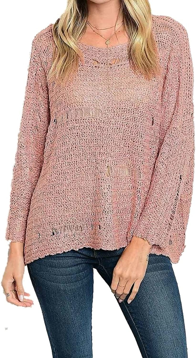 BLVD Collection Juniors Pull Over Distressed Sweater Dusty Pink