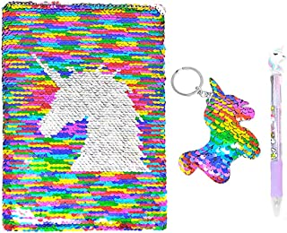 QearFun Unicorn Sequin Journal Mermaid Sequin Notebook with Ballpoint Pen Reversible Sequin Journal Flip Sequin Notebook for Kids Girls Diary Unicorn Journal Gifts (Multicolor)