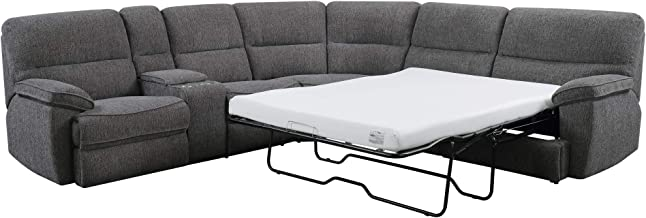Artum Hill Regina Full Sleeper Sectional in Textured Gray with Four Inch Memory Foam Mattress, Platinum