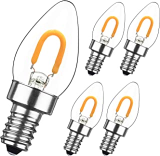 GEZEE 1W LED Filament C7 Night Light Bulb,Warm White 2700K, E12 Candelabra Base