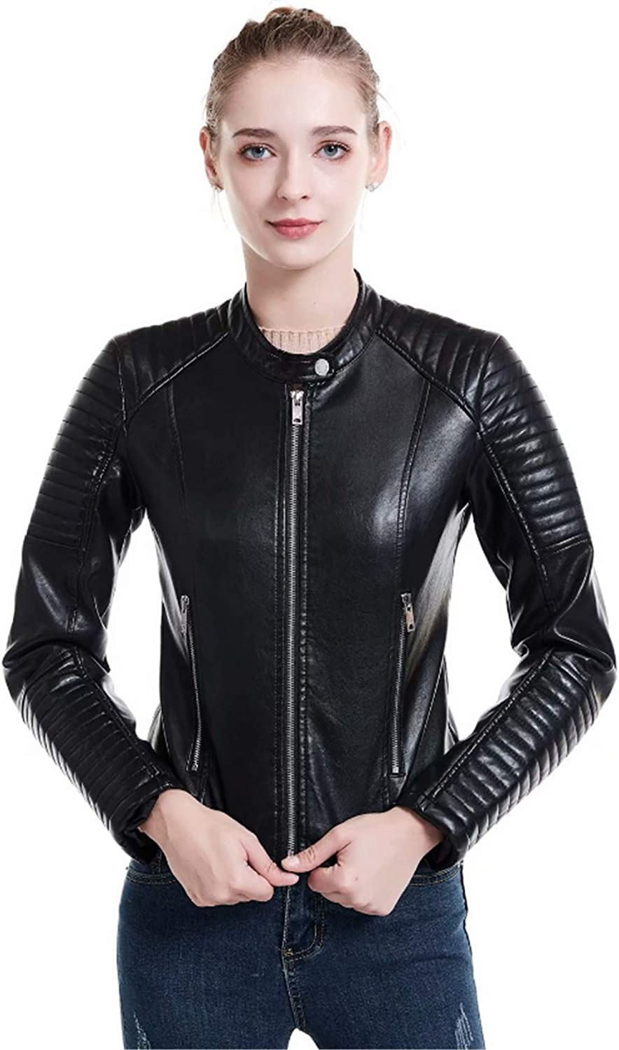 EverNight Womens Faux Leather Jackets,Moto Biker Slim Fit Short Casual Round Neck Coats,Spring Fall Outwear,Black,L