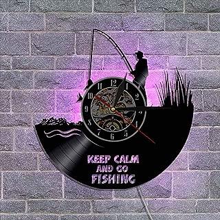 12'' ビニールレコード壁掛け時計 設計 常夜灯 壁の装飾 ユニークな贈り物 - 釣りシリーズ,D