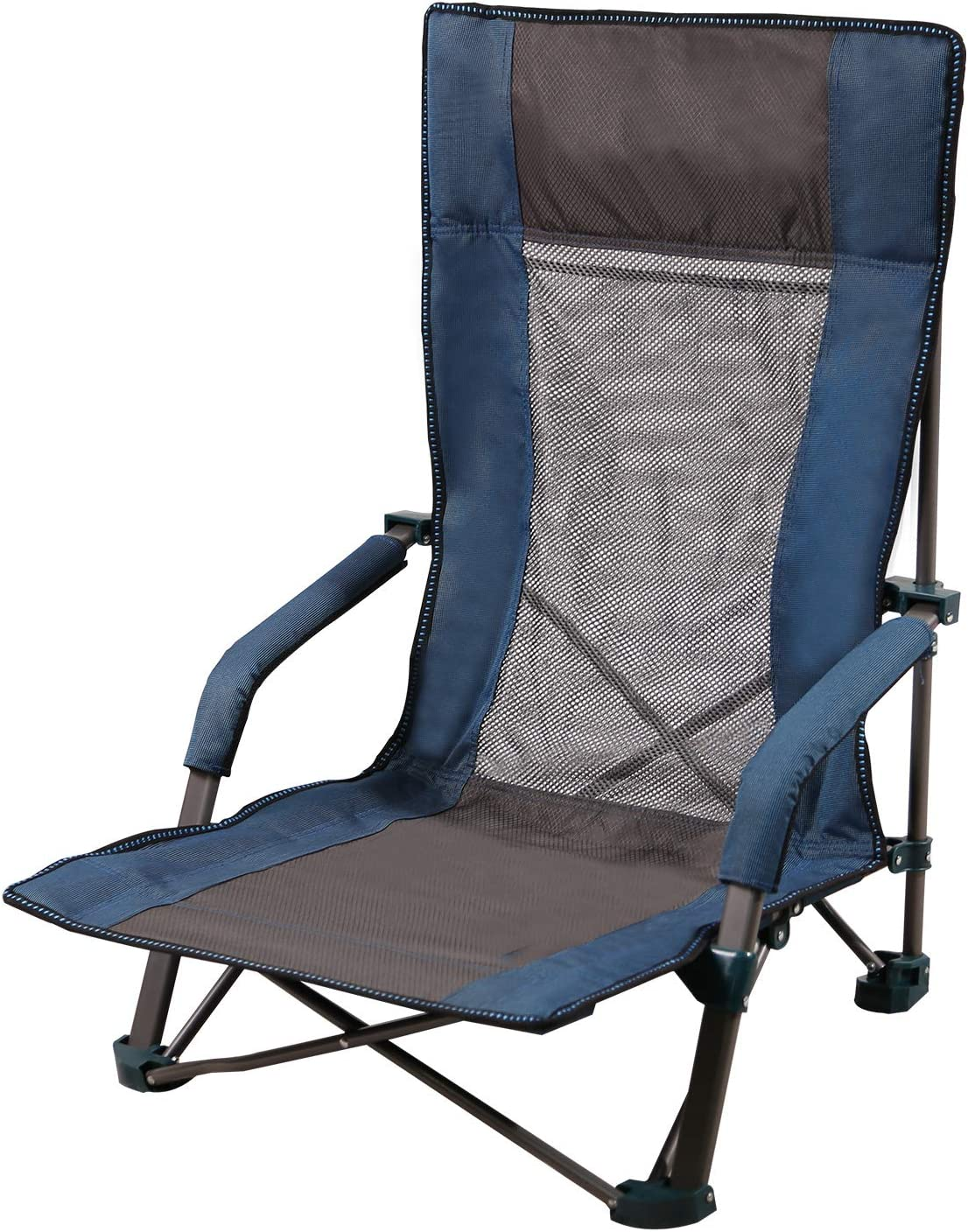 CAMPMAX High Back Low Sling Beach Chair, Portable Folding Camping Chairs for Adults Outdoor Backpacking Lawn