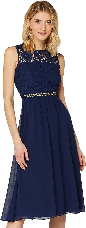 TRUTH & FABLE Women's Lace Trim Bridesmaid Midi Dress