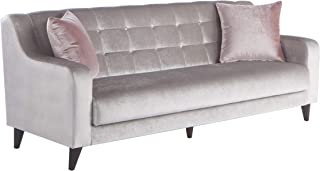 BELLONA Fashion & Function Living Room Furniture Blair Collection Sleeper Sofa with Storage Deha Silver