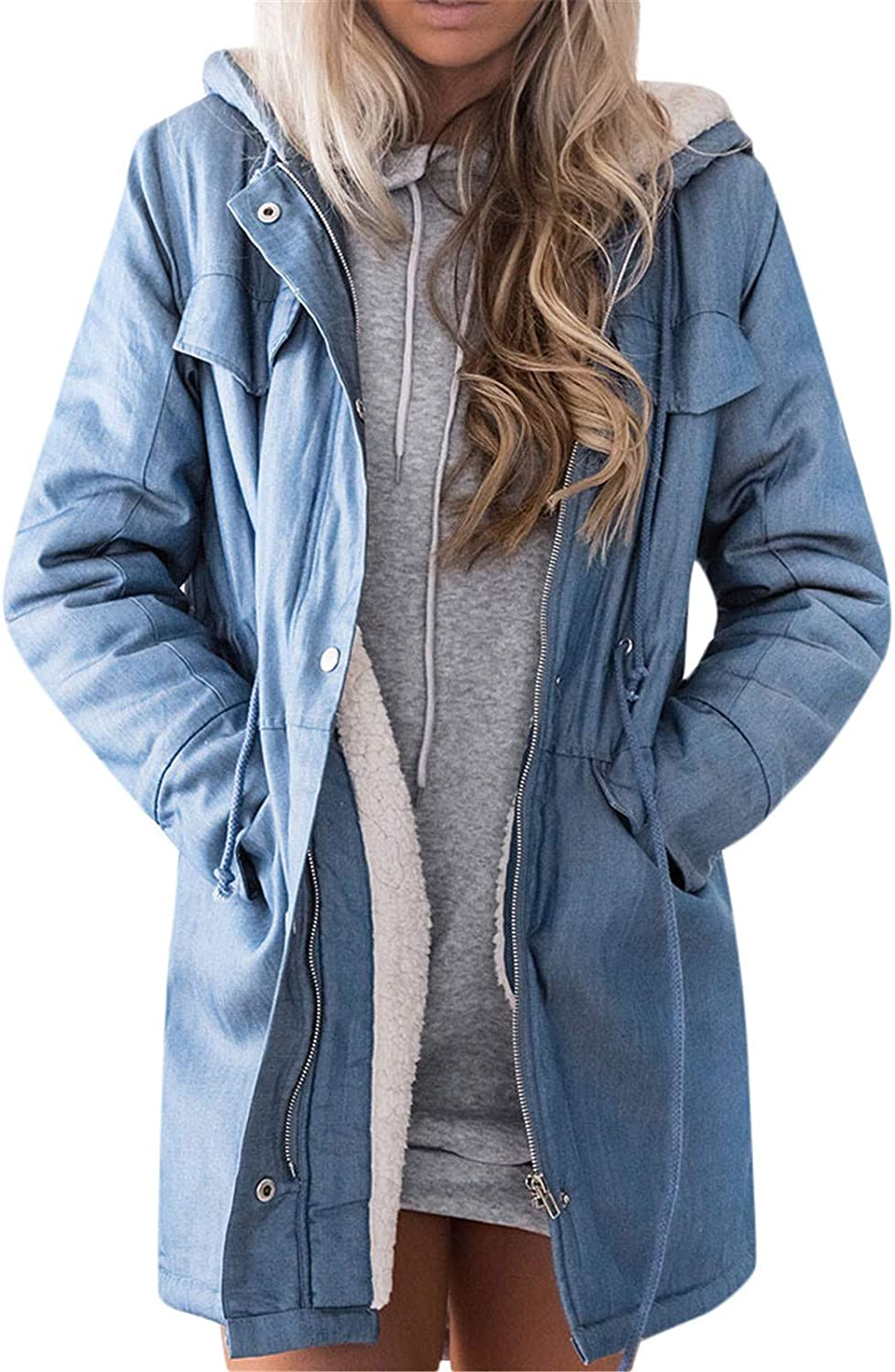 Womens Thick Loose Distressed Fleece Lined Hooded Denim Jean Jacket Cotton Long Sleeve Coat Outwear Overcoat Trench Coats