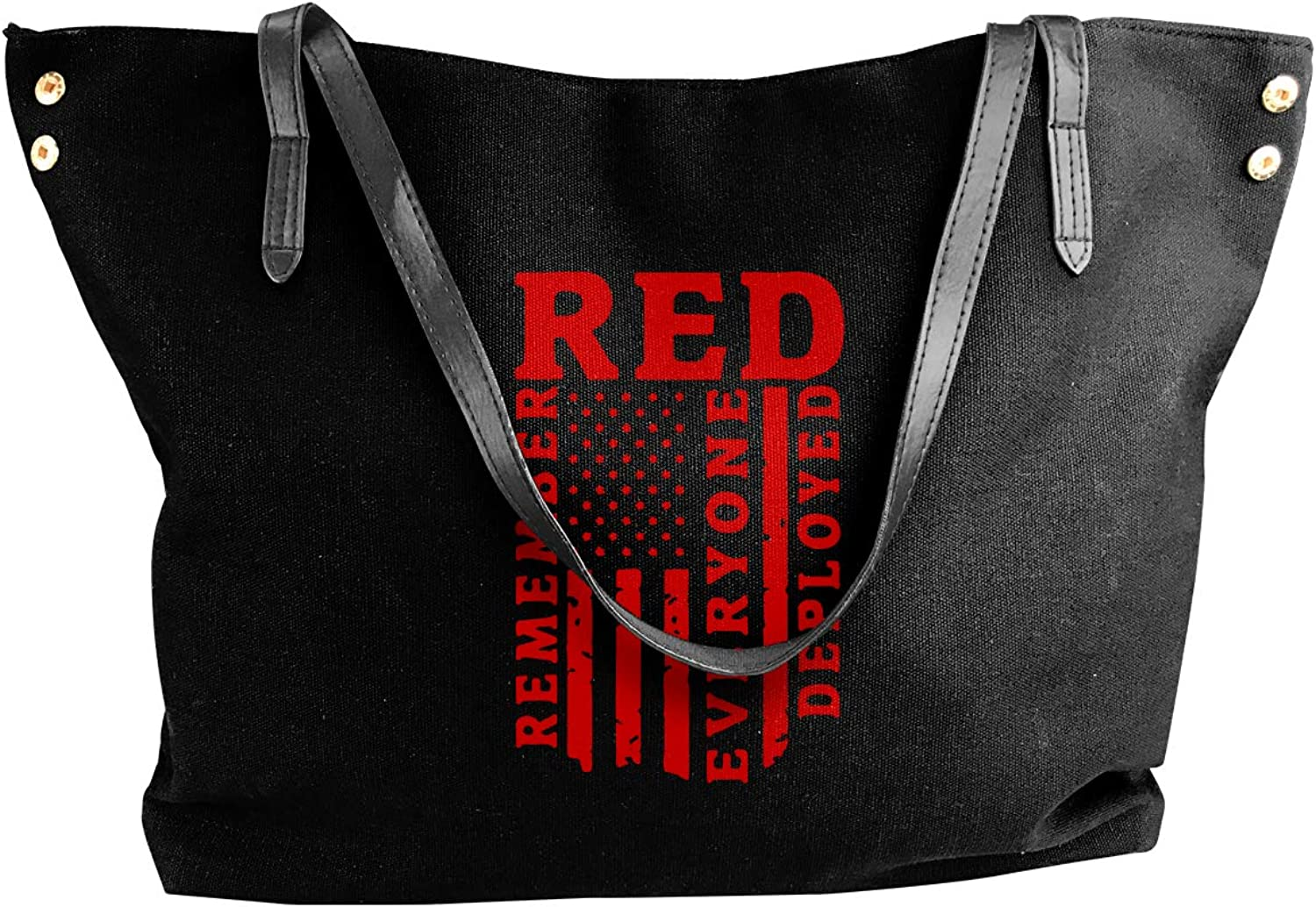 Remember Everyone Deployed Red Friday Women'S Casual Canvas Handbag For Travel Work Bag