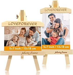 Wooany 5X7 Desk&Love Photo Frame(2 pak),3D Creative Picture Frames Made of Solide Wood,Safety&No Paint,Best Gift Photo Frame Display for Baby/Dad/Mom/Anniversaire &Valentine's Day