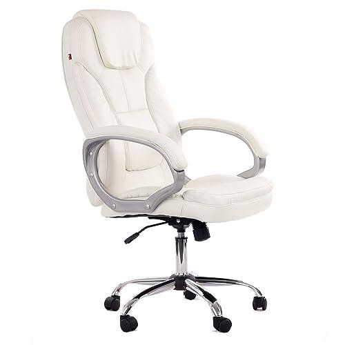 MY SIT Chaise de bureau Siège de bureau Fauteuil Design Blanc Milano Deluxe accoudoir rembourrés