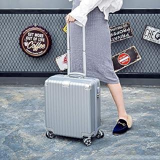 IhDFR Aerolite Cabin Bag,Trolley case- Business Trolley Suitcase, Universal Wheel 18 Inch Boarding Suitcase Suitcase Suitcase for Men and Women (Color : Silver, Size : 18in) (Color : Silver)