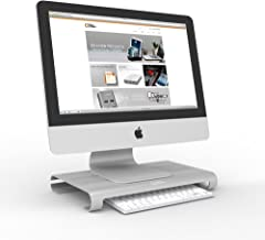 AVLT-Power Aluminum Monitor Stand iMac Stand MacBook Stand Riser - for 2008 Or Newer iMac 21.5 27 & MacBook 13 15 Models - Holds 32 Monitor Or 40 lbs - Storage for Magic Keyboard & Mice - Silver