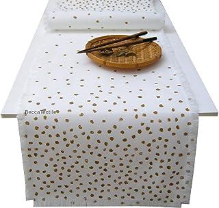 Camino de mesa con topos oro, Manteles modernos, BeccaTextile.