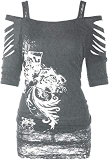 Women Fashion Print Punk Rock Gothic Shirt Cut Lacerated Sleeve Blouse Hollow Out Casual Tank Tops