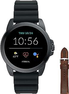 Fossil Smartwatch GEN 5E Connected da Uomo con Wear OS by Google con Cinturino in Silicio Nero + Cinturino dell'Orologio U...