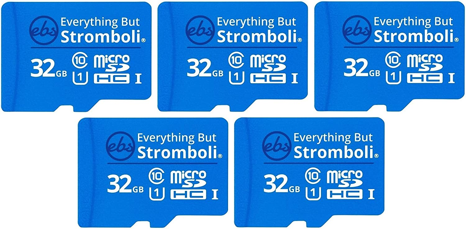 Everything But Stromboli 32GB MicroSD Memory Card w/Adapter (Bulk 5 Pack) Class 10, U1, UHS-1, Micro SDHC Card for Compatible Raspberry Pi, Dash Cam, Galaxy Tablet/Phones, Digital Cameras, Trail Cam