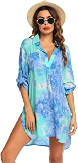 Ekouaer Women's Swimsuit Beach Cover up Shirt Bikini Beachwear Bathing Suit Beach Dress S-XL