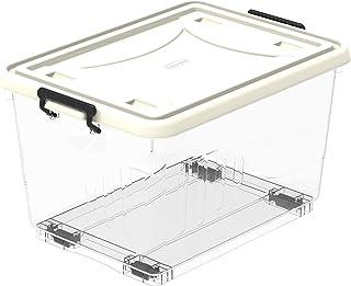 Cosmoplast Plastic Storage Box with Wheels and Latch-locking Lid, Clear, 22 Liters, 46 x 33 x 27.5 cm