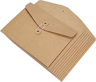 10 Pieces A5 Envelope Kraft Paper Document Wallet Pockets File Bags Paperwork Organizer with String Fastener Closure