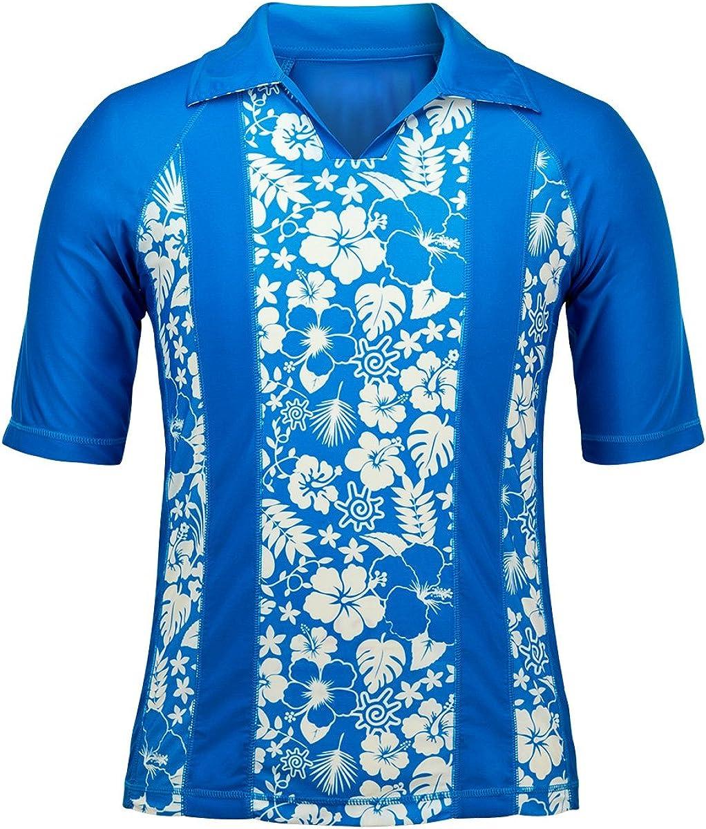UV SKINZ UPF 50+ Men's V-Neck Aloha Sun & Swim Shirt