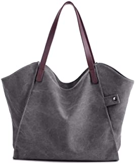 Elonglin Women's Handbag Large Totes Canvas Bags Shoulder Shopping Bags Hobo Travel Shoulder Beach Messenger Bags 37 x 3 x 31cm Grey 1