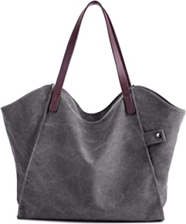 Elonglin Women's Handbag Large Totes Canvas Bags Shoulder Shopping Bags Hobo Travel Shoulder Beach Messenger Bags 37 x 3 x 31cm Grey 1