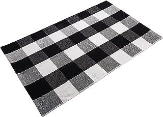 """فرش Delxo Cotton Buffalo Plaid فرش ، 27.5 """"x43.5"""" فرش دستباف داخلی و خارجی برای فرشهای قابل شستشو در طبقه درهای لایه ای برای ایوان / آشپزخانه / خانه مزرعه / ورودی (سیاه)"""