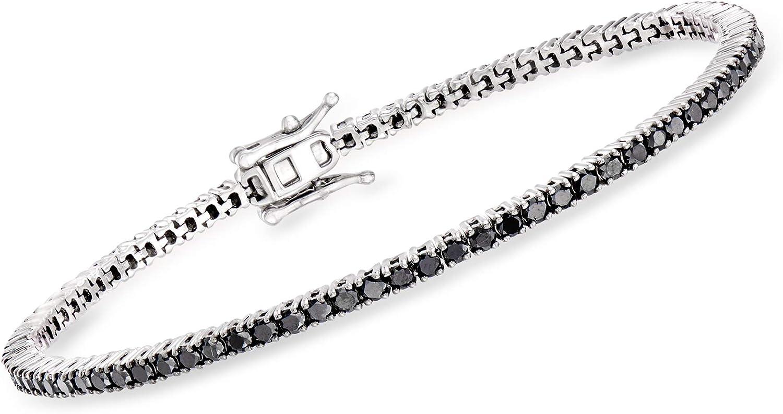 Ross-Simons 3.00 ct. t.w. Black in Max 66% OFF Bracelet Sterl El Paso Mall Tennis Diamond