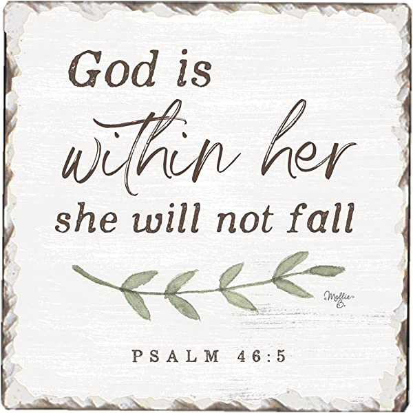 CounterArt Single Tumbled Tile Absorbent Coaster God Is Within Her She Will Not Fall