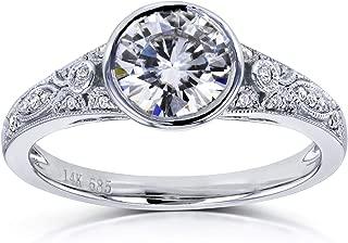 Round Moissanite Bezel Vintage Engagement Ring 1 CTW in 14k White Gold