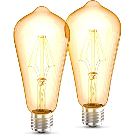 B.K.Licht LED Edison Vintage ST64 I E27, 4W, blanc chaud 2700K, intensité lumineuse 380lm, ampoule rétro à filament