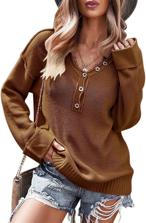TEMOFON Ranking TOP5 Women's Long Sleeve V Neck Loose Bombing free shipping Knit Casual But Sweater