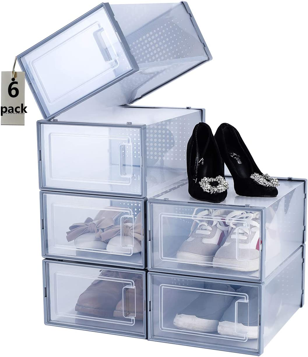 Shoe Box 6 PCS Stackable Contain Organizer Brand new Max 65% OFF