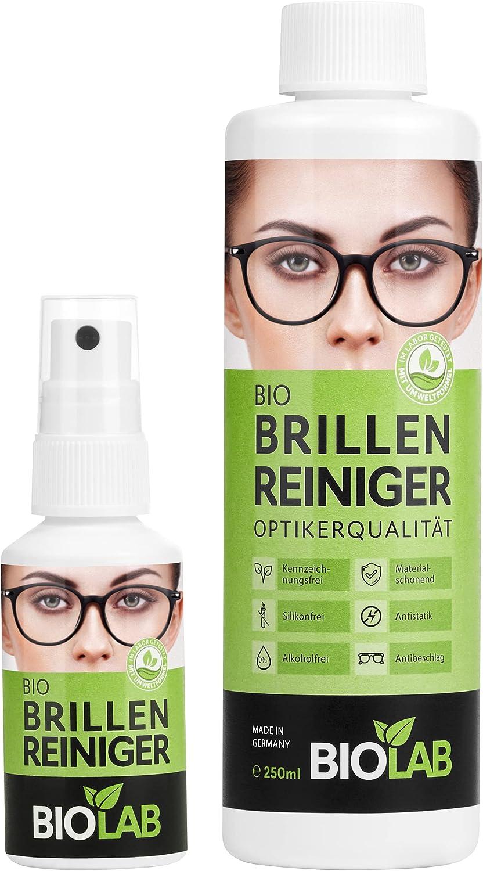 BIOLAB Bio - Limpiador de gafas, paquete ahorro 300 – Pulverizador de 50 ml y botella de recarga de 250 ml, spray limpiador de gafas, para limpieza de gafas, sin silicona y sin alcohol