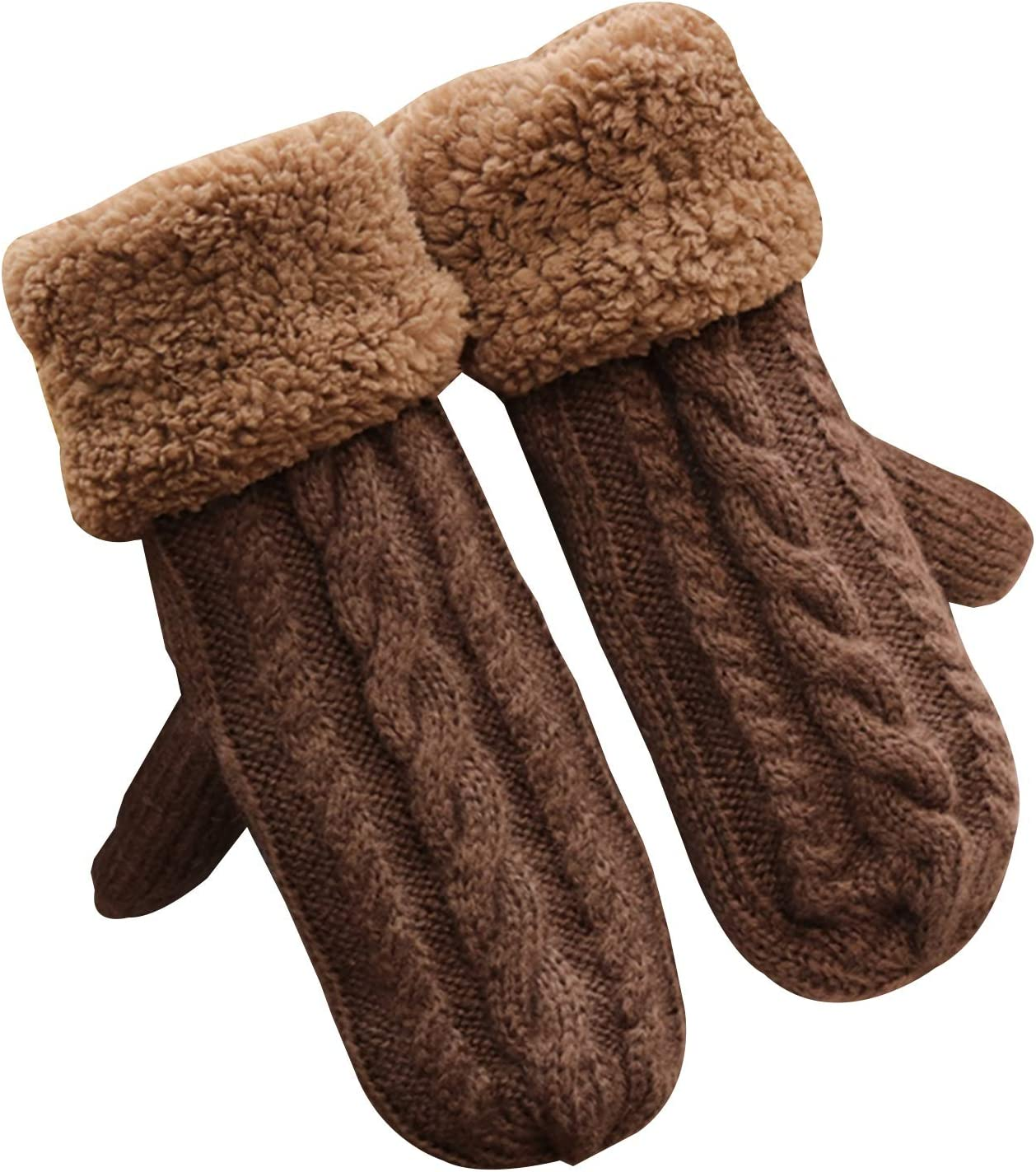 Gloves Winter Gloves Warm Lining Gloves-Comfortable Knitted Woolen Thick Gloves Novel Gloves Winter Cold Weather Accessories (Color : Khaki)