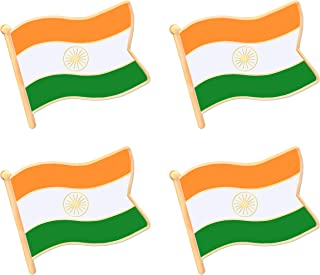 India Indian Flag Lapel Pin Decorations (4 Pack)