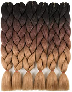 RAYIIS 6 Packs Ombre Braiding Hair Kanekalon Synthetic Braiding Hair Extensions 24 inch Black-Dark brown-Light brown