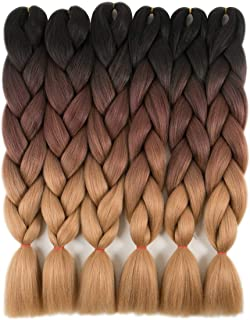 6 Packs Ombre Braiding Hair Kanekalon Braiding Hair Extensions 24 inches Black-Dark brown-Light brown