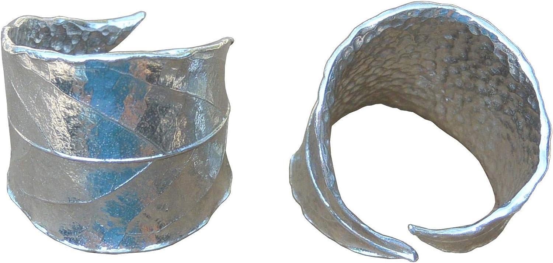 William Sturt - Par de servilleteros, diseño de hoja de laurel, hecho a mano, en peltre fino, par de anillos