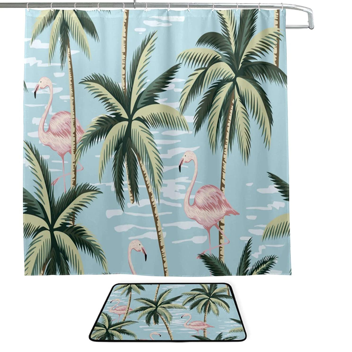 ZLU Tropical Vintage Pink Flamingo Palm Trees Single-Sided Printing Shower Curtain and Non-Slip Bath Mat Rug Floor Mat Combination Set with 12 Hooks for Bathroom Decor and Daily Use