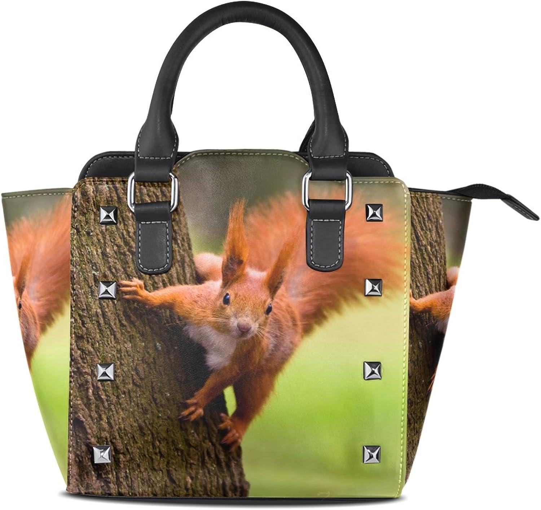 Sunlome Red Eurasian Squirrel Print Handbags Women's PU Leather Top-Handle Shoulder Bags