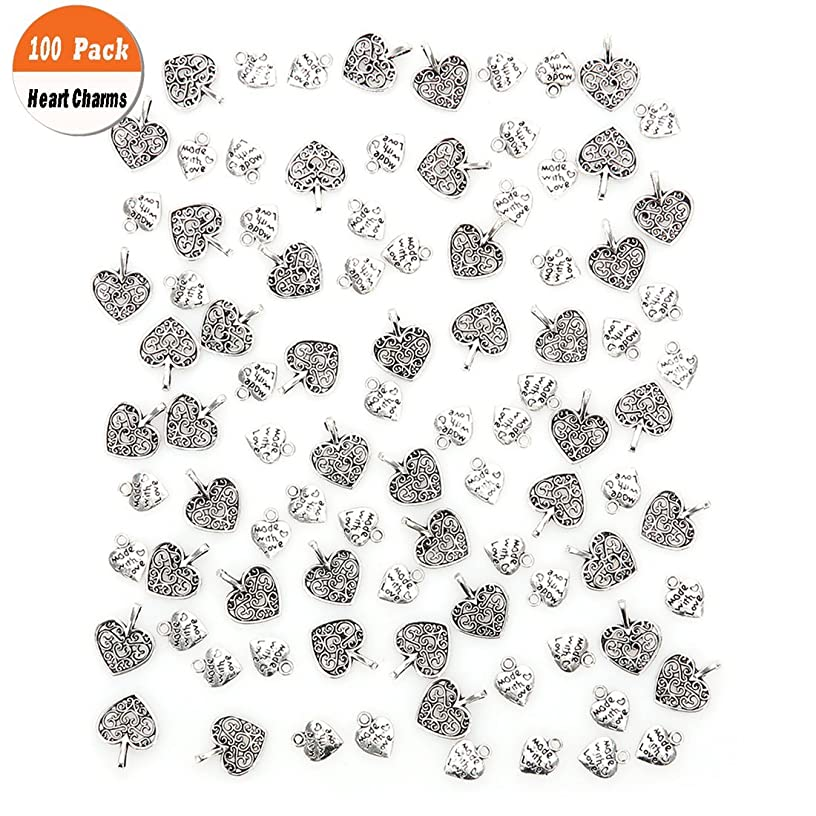 100 Pack Love Heart Charms Pendants, Buytra Heart-Shaped Metal