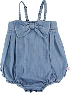 RuffleButts Baby/Toddler Girls Bow-Front Bubble Romper One Piece w/Ruffles