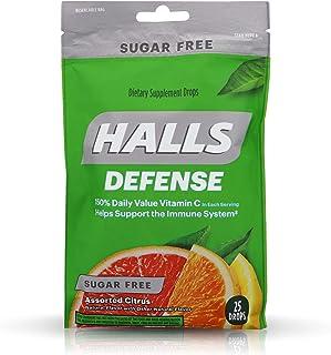 Halls Defense Vitamin C Drops Sugar Free Assorted Citrus - 25 ct, Pack of 4