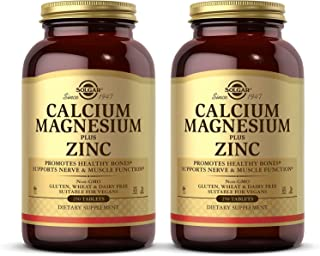 Solgar Calcium Magnesium Plus Zinc, 250 Tablets - Pack of 2 - Promotes Bone & Muscle Health - Collagen Synthesis - Non-GMO...
