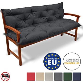 9 x 46 x 96 cm Relaxdays Matelas Coussin pour fauteuil chaise lot de 2 jardin terrasse balcon int/érieur HxlxP gris