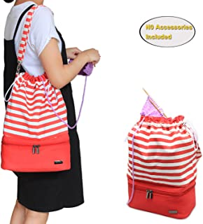 Teamoy Knitting Bag, Drawstring Travel Shoulder Tote Bag Organizer for Yarn, Unfinished Project, Knitting Needles and Accessories, Perfect for Knitting on The Go, Red Strips, No Accessories Included