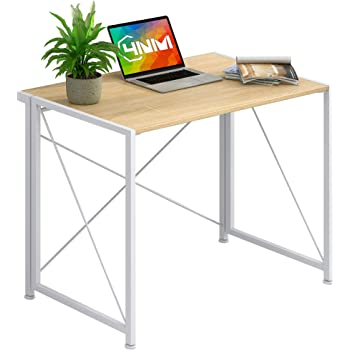 4NM No-Assembly Folding Writing Desk Small Computer Desk Laptop Table Compact Home Office Desk Study Reading Table for Space Saving Office Table - White