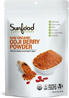 Sunfood Superfoods Goji Berry Powder - Raw, Organic, Non-GMO - 100% Pure Goji Fruit: No Additives or Preservatives - 8 oz Bag